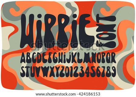 Alphabet Psychédélique smooth hippie font wavy psychedelic seamless image vectorielle de