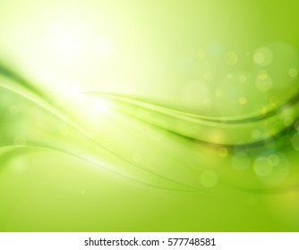 Smooth light blue waves lines and Lens Flares vector abstract background. Bokeh effect