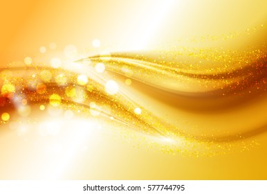 Smooth light gold waves lines and Lens Flares vector abstract background. Bokeh effect