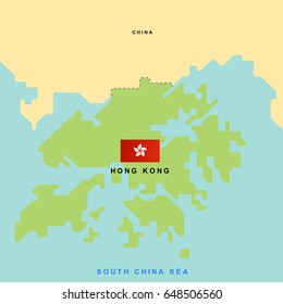 Hong kong island map imgenes pagas y sin cargo y vectores en stock smooth map of hong kong and its neighboring countrieseps10 art vector gumiabroncs Images