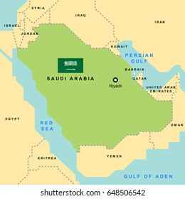 Smooth map of Saudi Arabia and Its neighboring countries.(EPS10 art vector)