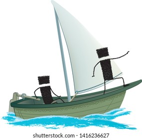 Smooth sailing at full sail, isolated on white background. Two stick figures sail on a sailboat. One handles the helm, the other pointing the way forward.