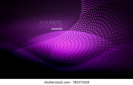 Smooth smoke particle wave, big data techno background with glowing flowing elements, hi-tech concept