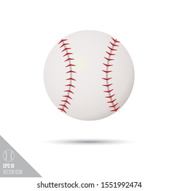 Smooth style baseball ball icon. Sports equipment vector illustration.