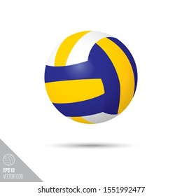 Smooth style volleyball ball icon. Sports equipment vector illustration.