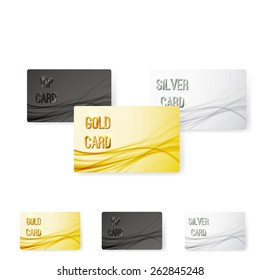 Smooth swoosh wave line premium membership card collection vip privileged users. Vector illustration