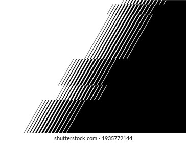 Smooth vector transition from black to white with straight broken lines. Modern vector background for transition from one image to another