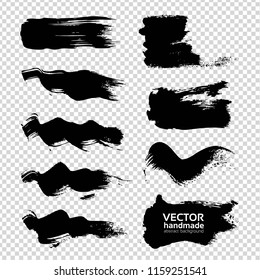 Smooth and wavy textured brush strokes with black paint or ink set isolated on imitation transparent background