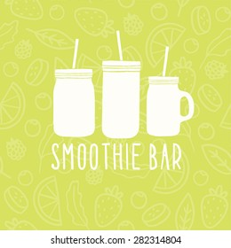 Smoothie bar logo. 3 different mason jars
