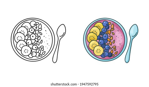 Smoothie bowl doodle icon. Linear and color version. Black simple illustration of plate with fruit puree and spoon. Contour isolated vector pictogram on white background