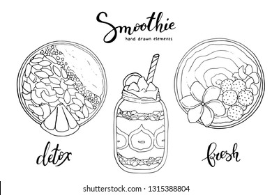 Smoothie bowl doodles set. Healthy and colorful breakfast acai smoothie bowl with fruit toppings. Healthy summer meal. Smoothie detox. Diet. Detox. Shake.