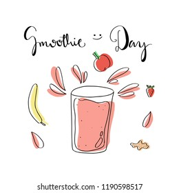 Smoothie Day Cute Doodle Vector illustration