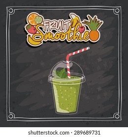 Smoothie design over black grunge background, vector illustration