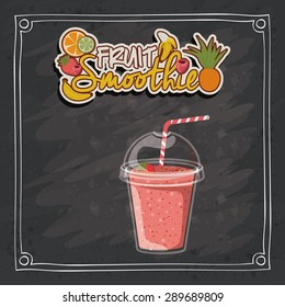 Smoothie design over black grunge background, vector illustration