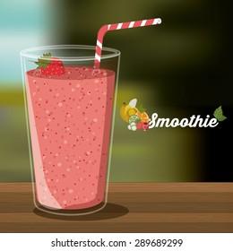 Smoothie design over landscape background, vector illustration