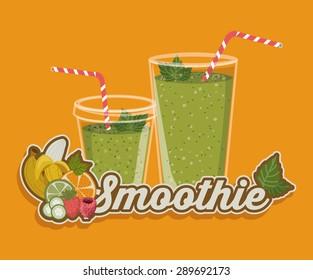 Smoothie design over orange background, vector illustration