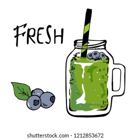 Smoothie or Detox cocktail day poster in doodle style. Green smoothie with blueberries.hand drawn ingredients for smoothie or detox drink in the bottle.vector illustration