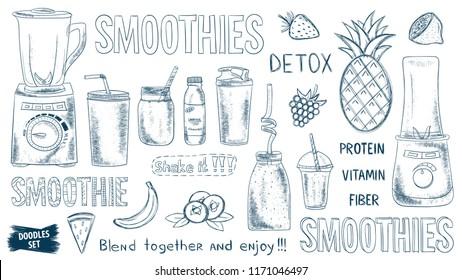 Smoothie doodles set. Healthy lifestyle. Organic. Glass. Mug. Blender. Fruits or vegetables smoothie. Smoothie detox. Milkshake. Vitamins and protein drink. Diet. Detox. Shake. Acai bowl ingredients.