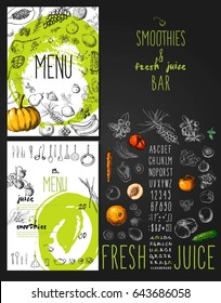 Smoothie with fruits, vegetables and berries. Smoothies and fresh juices bar menu