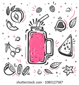Smoothie in glass bottle with straws on white background. Fresh organic Smoothie ingredients. Superfoods and health or detox diet food concept in sketch style.
