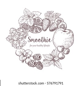 Smoothie. Herb, Spices and Fruits. Sketches of vegan food for cooking cards, stickers, labels, tags and packaging. Healthy Lifestyle. Vector hand drawn illustration .