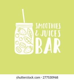 Smoothie jar silhouette with fruits and berries. Smoothies and juices bar