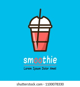 Smoothie logotype template for web and print design in flat colorful style