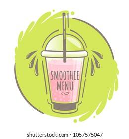 Smoothie or milkshake Logo on green background. Can use for cocktail logo, menu bar, banner, poster, voucher, sale promotion. Vector illustration EPS 10.