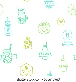 Smoothie seamless pattern. Doodle objects, linear hand drawn illustration. Vector.
