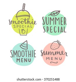 Smoothie special hand drawn badges. Vector illustration