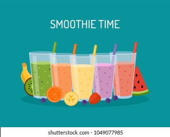 Smoothie time! Smoothie or milkshake in glasses with straw. Concept for cocktail bar. Vector illustration in flat design.