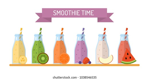 Smoothie time. Set of smoothies or milkshakes in jars with ingredients isolated on white background. Concept for cocktail menu bar. Vector illustration in flat design.