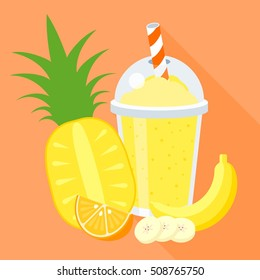 smoothie vector illustration with fruits, pine apple, banana, orange, flat design with long shadow