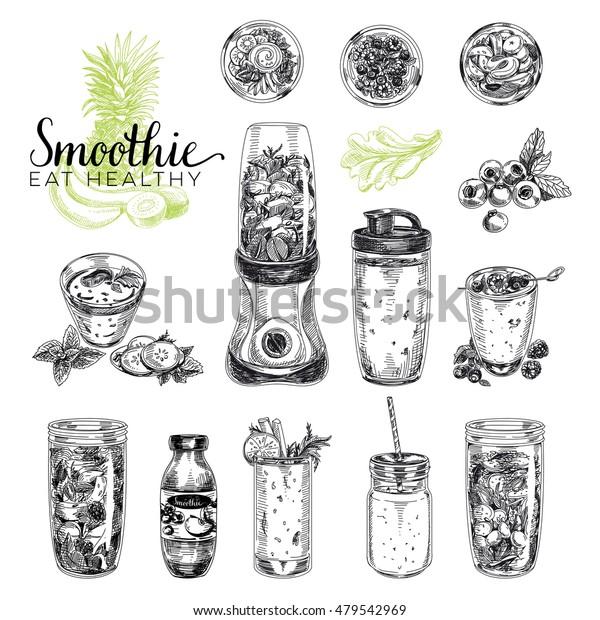 Smoothie-Vektorset. Illustrationen von gesunden Lebensmitteln im Skizzenstil. Handgezeichnete Design-Elemente.