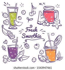 Smoothies. Detox diet drinks in different bottle, cup with fresh fruit and berries strawberry, cherry and banana smoothie sketch vector drinking menu and healthy lemonade in glass set