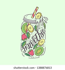 Smoothies in a glass bottle with straws. Fresh fruit smoothie with strawberries, kiwi and banana. Healthy lifestyle. Colorful hand drawn illustration.