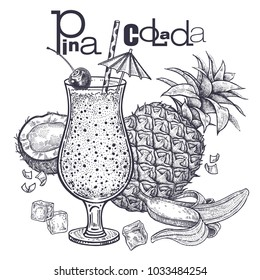 Smoothies. Healthy diet food. Fruit for the preparation of Pina Colada and drink in goblet. Pineapple, bananas and coconut. Black and white. Hand drawing. Vintage engraving. Vector illustration