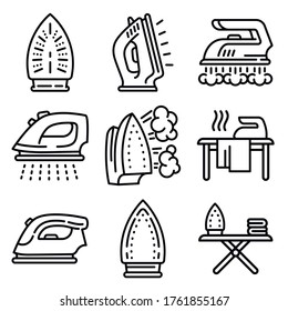 Smoothing-iron icons set. Isometric set of smoothing-iron vector icons for web design isolated on white background