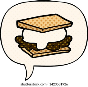 smore cartoon with speech bubble in comic book style