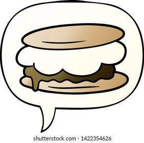 smore cartoon with speech bubble in smooth gradient style