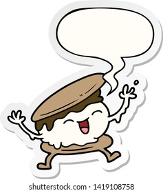 smore cartoon with speech bubble sticker