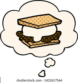 smore cartoon with thought bubble in comic book style