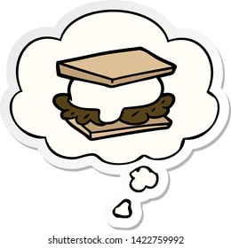 smore cartoon with thought bubble as a printed sticker