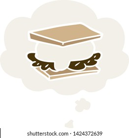 smore cartoon with thought bubble in retro style