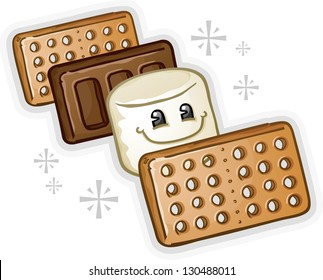Smores Marshmallow Cartoon Character