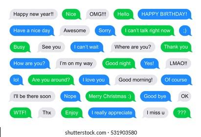 SMS bubbles short messages