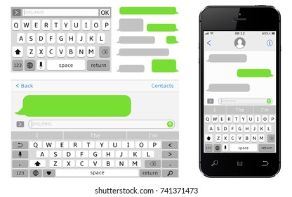 SMS chat composer. Smartphone chatting sms template bubbles.