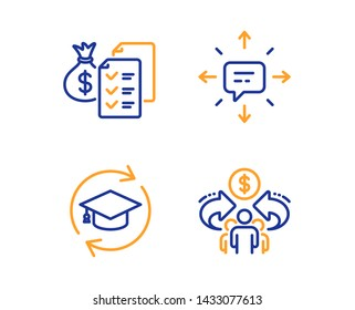 Sms, Continuing education and Accounting wealth icons simple set. Sharing economy sign. Conversation, Online education, Audit report. Share. Education set. Linear sms icon. Colorful design set. Vector