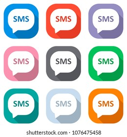 sms icon. Set of white icons on colored squares for applications