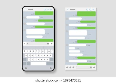 SMS interface mockup on smartphone with speech bubbles and keyboard